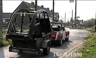citroen 2cv charleston vervoer met cabrio